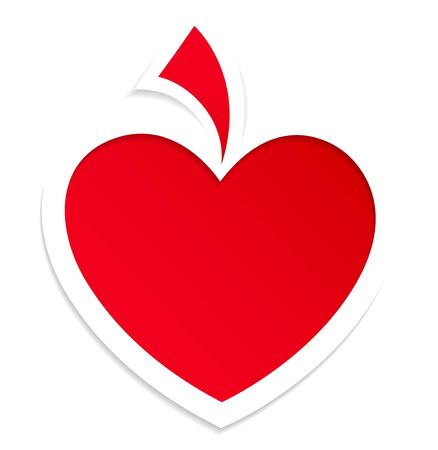 Red paper heart for Valentines day card.