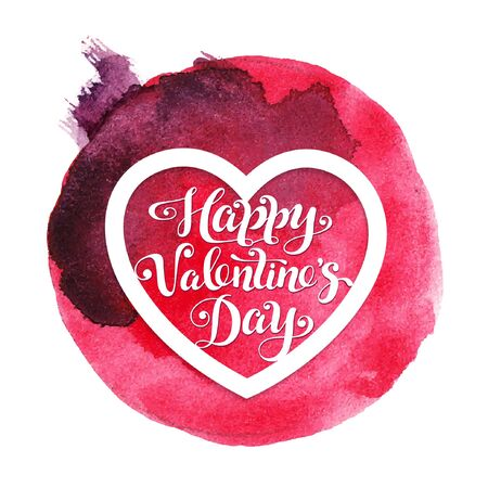 Holiday watercolor card with red heart for Valentines day. Illustration