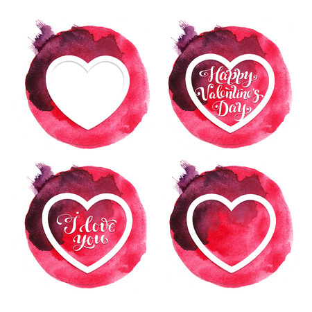 Four red watercolor Valentine cards with hearts for Valentines day