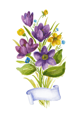 Watercolor illustration with bouquet of crocuses.