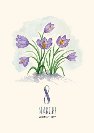 Watercolor greeting card 8 March with snowdrops Stock Photo