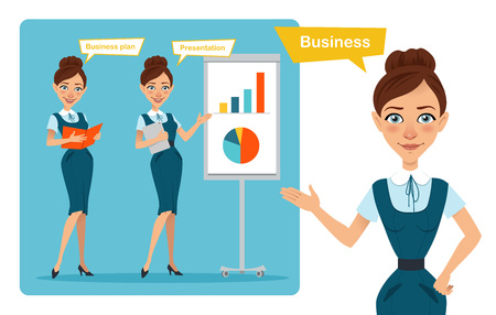 Set of business woman characters poses. Girl with folder. Girl shows presentation and girl points to side