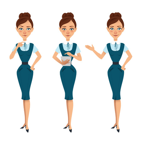 Set of business woman characters poses. Woman thinks.