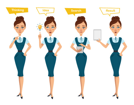 Set of business woman characters poses. Illustration shows online search process