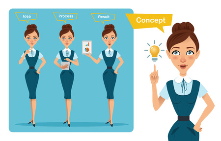 Set of business woman characters poses. Girl has idea . Girl counts profit. Girl shows result on tablet Stock Photo