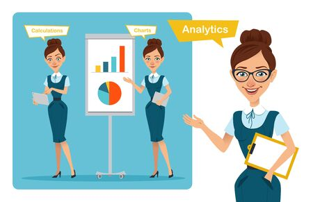 Set of business woman characters poses. Girl speaks. Girl shows profit growth graph and calculates finance Stock Photo
