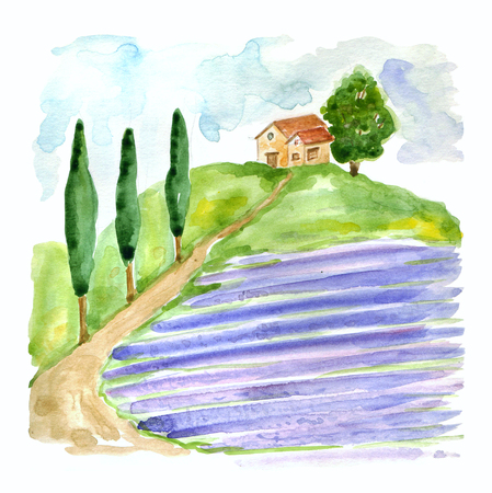 cypress: Watercolor illustration with Tuscan landscape with lavender field and country house in Europa . Stock Photo