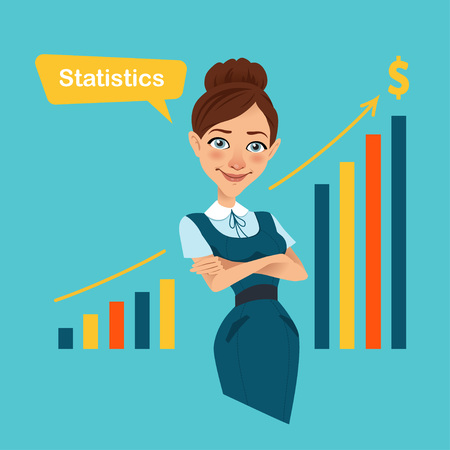 illustrierte: Woman stands near board with profit growth chart.