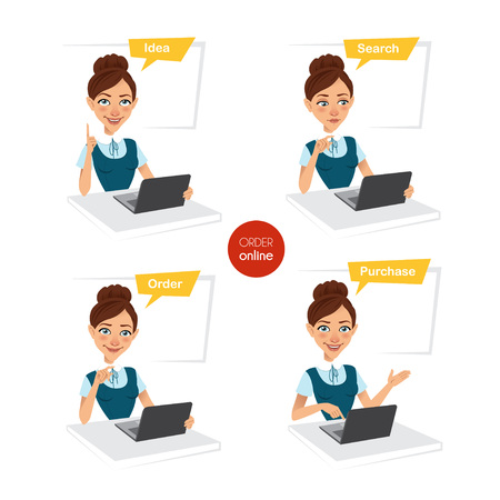 purchasing manager: Woman makes order online. Four stages of process. Illustration