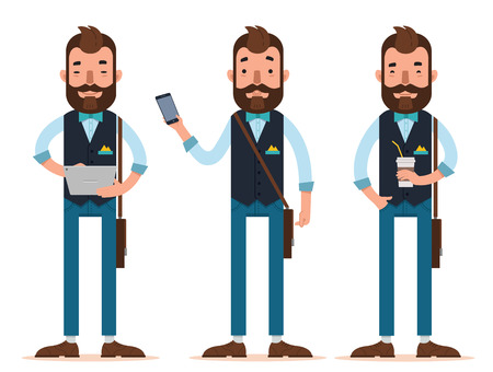 Businessman characters. Man stands with digital tablet, man with phone, man with glass of coffee