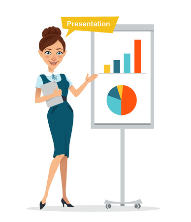 Woman with digital tablet standing near flipchart . Woman is showing presentation. Business character.