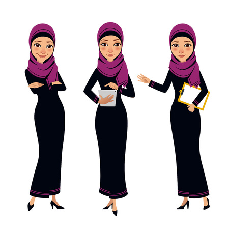 Arab business women characters. Four poses with tablet. Illustration