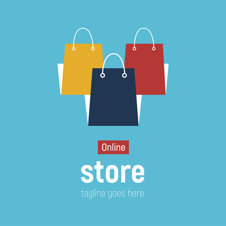 innovative design a7c7b 0245d Web banner Online Store with shopping bags. Concept online shopping