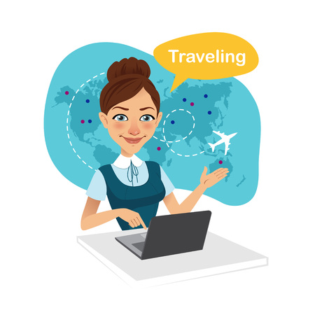 Travel agency banner. Woman sitting at table in office. Travel agent working for laptop. Travel concept