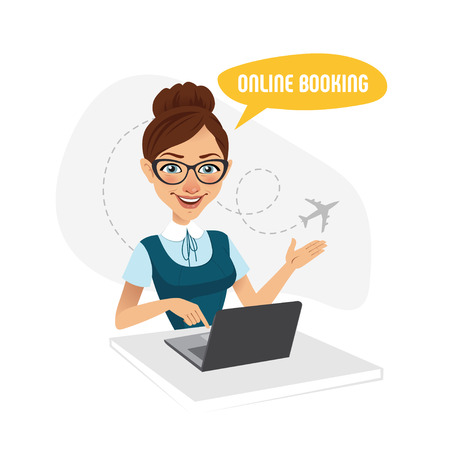 airway: Online booking banner. Air Tickets Online Booking. Online Flight Booking. Travel agent working for laptop Illustration
