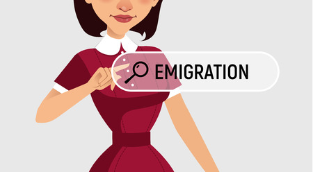 Woman is written EMIGRATION in search bar on virtual screen.