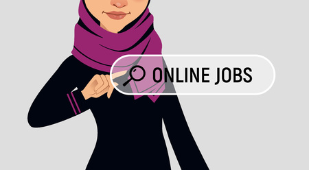 Muslim woman is writing ONLINE JOB in search bar on virtual screen. Woman searches job. Online recruitment service