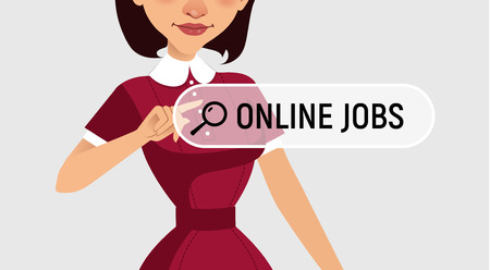 searches: Woman is writing ONLINE JOB in search bar on virtual screen. Woman searches job. Online recruitment service Illustration