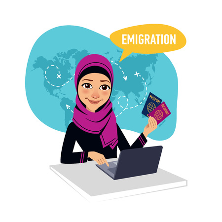 immigrate: Arab woman sitting at table in office and working for laptop. Woman draws up documents for emigration.