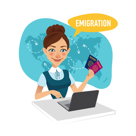immigrate: Woman sitting at table in office and working for laptop. Employee of company prepares visas for migrants.