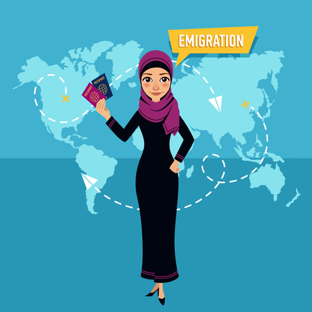 Woman is standing and holding passports and speaking about emigration. Stock Illustratie