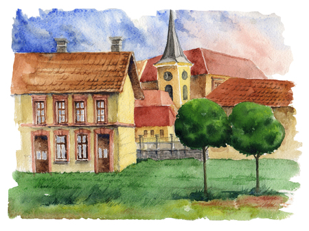 Traditional European urban landscape.Old European town with brick houses, tiled roofs and church. Urban view.Watercolor.