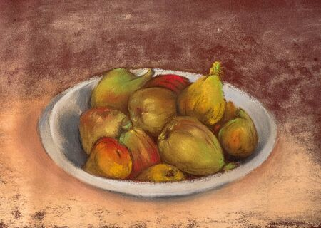 Plate with figs. Still life with juicy fruits. Pastel Painting 版權商用圖片