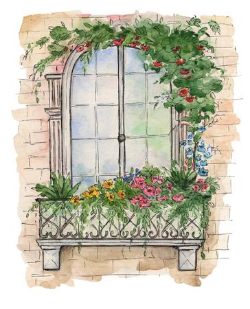 Illustratie van houten oude retro raam met knippen en klein balkon omringd in bloemen. Waterverf illustratie