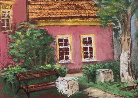 western town: Traditional European old house with tiled roof, bench and green tree. Urban view. Artistic pastels. Stock Photo