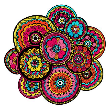 民族の一時的な刺青の飾り。インド風。美しい落書きアート花組成物。落書き花図面。Zentangle 飾り 写真素材