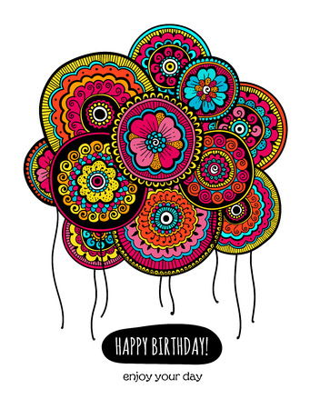 Colorful Happy Birthday card with balloons. Ballons with Indian floral pattern. Vector illustration.