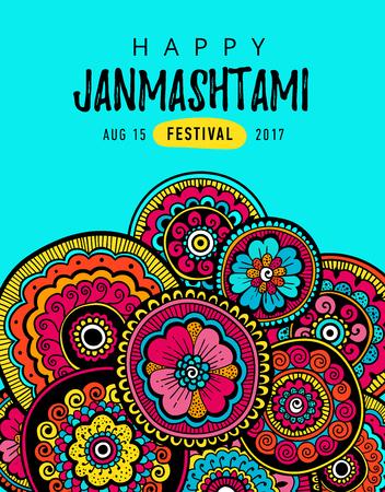 Vector poster, greeting card, illustration or banner for indian festival of Happy Kishna Janmashtami celebration.