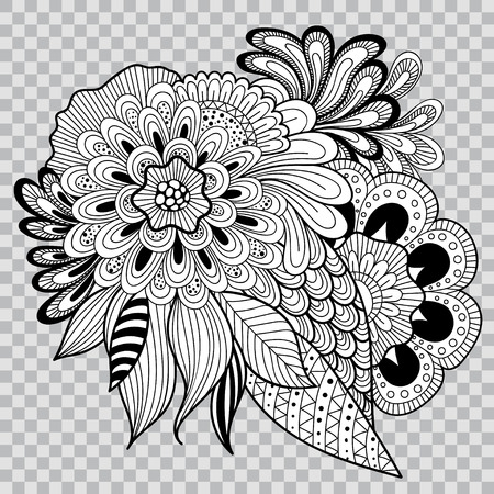 Black and white floral coloring on transparent background. Flower tattoo artwork.
