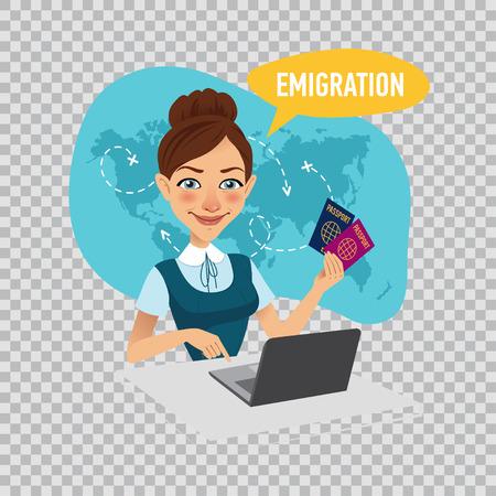 会社の従業員は、移民ビザを準備します。移住のコンセプトです。透明な背景の図。 写真素材
