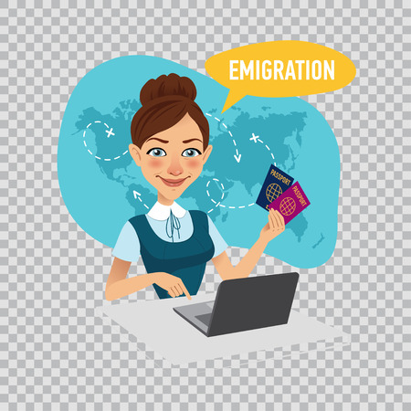 Employee of company prepares visas for immigrants. Emigration concept. Illustration on transparent background.