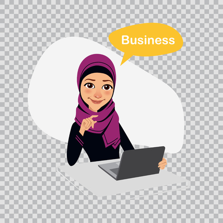 girl laptop: Arab business woman sitting at table in office and working on laptop. Business illustration on transparent background