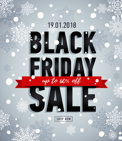 Black friday sale banner. Online shopping. Winter snowy poster. Trendy sale banner.Sale Up to 60% off.Advertising banner Illustration