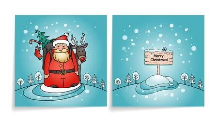 Merry Christmas card with Santa Claus. Cover and back of holiday card. Snowy winter background. Santa, gifts and reindeer.