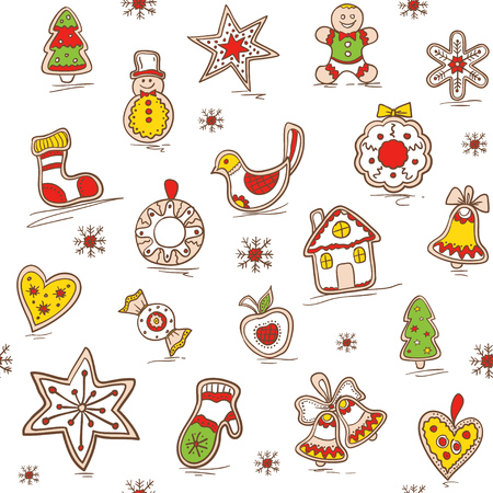 Christmas seamless pattern with Gingerbread. Holiday background. Pattern for bedding, wrapping paper, fabric