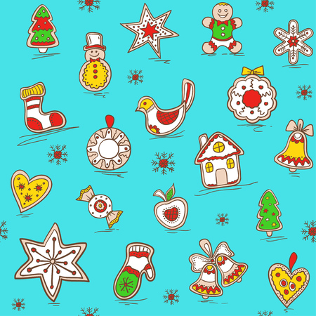 Christmas seamless pattern with ginger breads. Christmas background. Holiday pattern for bedding, wrapping paper, fabric.