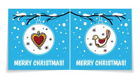 Double sided holiday card with Christmas balls on snowy branch.Christmas ball with heart, bird.Holiday winter background