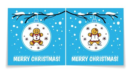 Holiday card with Christmas balls on snowy branch. Illustration with gingerbread man and woman. Cover and back of card.
