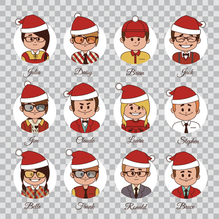 Set of Christmas characters. Set of avatars office team in Christmas hats. Characters in Christmas caps.Christmas icons