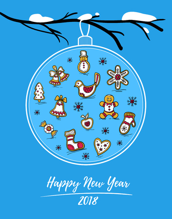Happy New Year 2018 card with Christmas ball on snowy branch. Christmas ball with painted gingerbreads and snowflakes