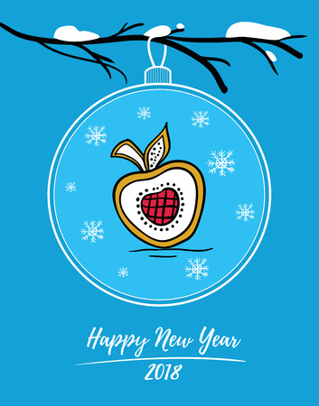 Happy New Year 2018 card with Christmas ball on snowy branch. Christmas ball with painted gingerbread in form of apple. Illustration