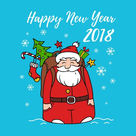 Happy New Year card with Santa Claus. Illustration