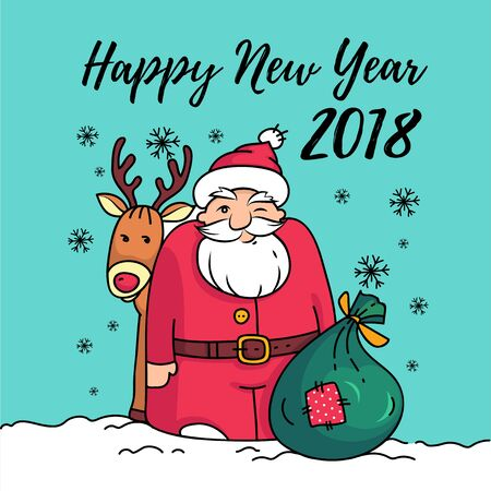 Template of Happy New Year 2018 card with Santa Claus.Santa with reindeer, bag, and gifts on snow.Winter illustration