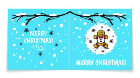 Double sided holiday card with Christmas balls on snowy branch. Illustration with gingerbread man. Winter background