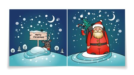 Merry Christmas card with Santa Claus. Cover and back of holiday card. Snowy winter background.Santa, gifts and reindeer