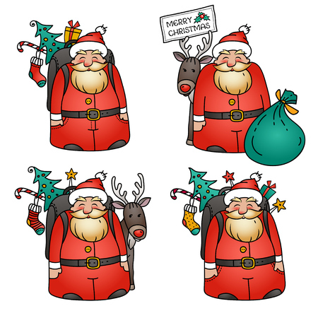 Holiday illustration with Santa Claus character.